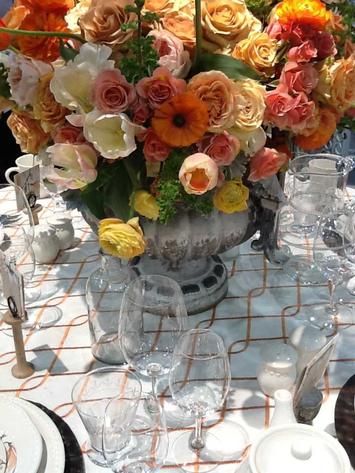 Centerpiece with Ranunculus Tulips Roses Park City Wedding Flowers Shellie Ferrer