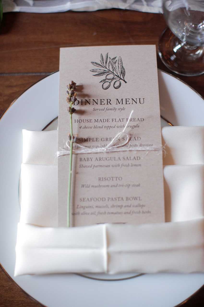 Custom Made Dinner Menu Card Park City Wedding Planner Shellie Ferrer Events