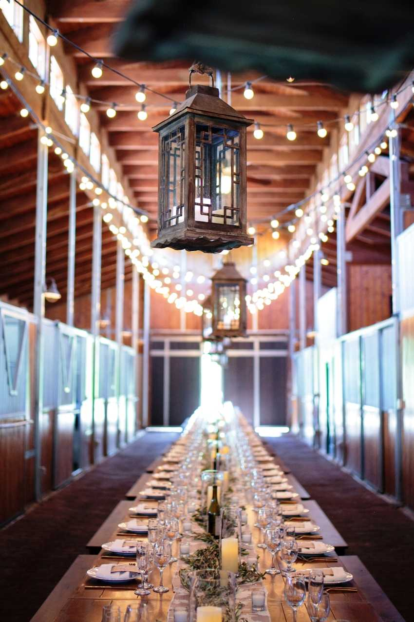 Hanging Lanterns Lights In Barn Park City Wedding Planner Shellie Ferrer Events